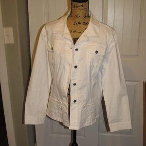 Chico's Women's White Denim Button Up Jacket